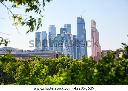 MOSCOW, RUSSIA - MAY 13, 2016: international business center Moscow-city. Office space and residential housing