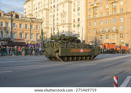 MOSCOW/RUSSIA - MAY 4: Kurganets-25 Armata IFV Tracked Heavy Armored Vehicle based on Armata next generation heavy military vehicle combat platform on night parade rehearsal on May 4, 2015 in Moscow.