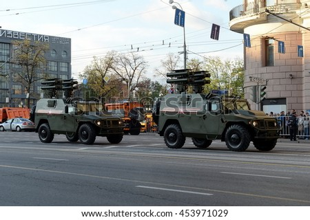 "MOSCOW, RUSSIA - MAY 05, 2016:Military equipment on Tverskaya street before the rehearsal of the passing through the red square. Armored vehicles GAZ-2330 ""Tiger"" anti-tank missile complex ""Kornet""."