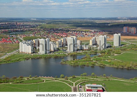 MOSCOW, RUSSIA - MAY 05, 2015: Moscow cityscape, South-Western Administrative Okrug. Top view of the Yuzhnoye Butovo District is located outside the Moscow ring road - stock photo