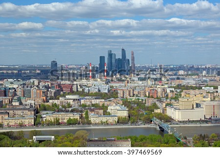 MOSCOW, RUSSIA - MAY 05, 2015: Moscow cityscape. Top view on the Frunzenskaya embankment and Moscow International Business Center - stock photo