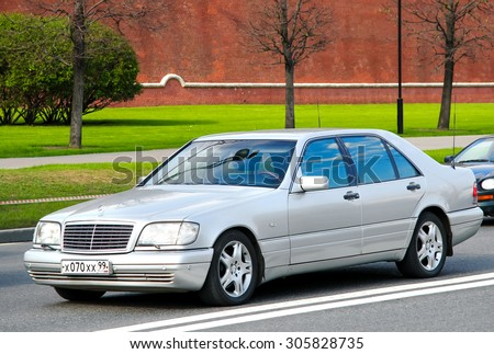 MOSCOW, RUSSIA - MAY 5, 2012: Motor car Mercedes-Benz W140 S-class at the city street. - stock photo