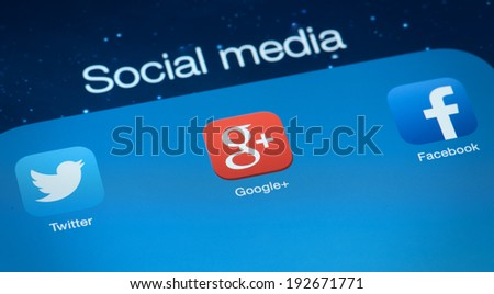 MOSCOW, RUSSIA - MAY 09, 2014: Popular social media icons. Social media is the interaction among people in which they create and exchange information in virtual communities - stock photo