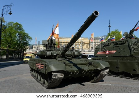 MOSCOW, RUSSIA - MAY 07, 2016: Rehearsal celebration of the 71th anniversary of the Victory Day (WWII). The T-90? is a third-generation Russian main battle tank.