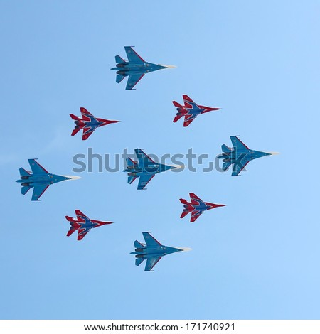 MOSCOW, RUSSIA - MAY 9, 2013: Russian army military jets during military parade for the Victory Day which will take place at Moscow's Red Square. - stock photo