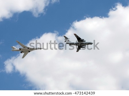 MOSCOW, RUSSIA - MAY 07, 2016:Simulated mid-air refueling aircraft Il-78 and Tu-160 during a parade marking the 71st anniversary of the Victory in the great Patriotic war.