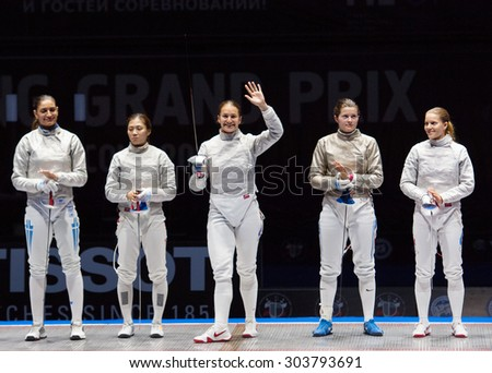 MOSCOW, RUSSIA - MAY 31 2015: Sofia Velikaya greeting the spectators just before final fights on the World  fencing Grand Prix Moscow Saber in Luzhniki sport palace - stock photo