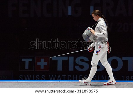 MOSCOW, RUSSIA - MAY 31 2015: Sofia Velikaya on timeot during the World  fencing Grand Prix Moscow Saber in Luzhniki sport palace - stock photo