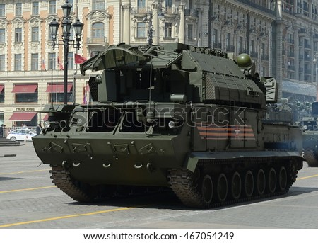 "MOSCOW, RUSSIA - MAY 07, 2016:Tactical air defense missile system ""Tor-M2U"" (SA-15 Gauntlet) at the rehearsal of the parade dedicated to the 71th anniversary of the Victory in the great Patriotic war."