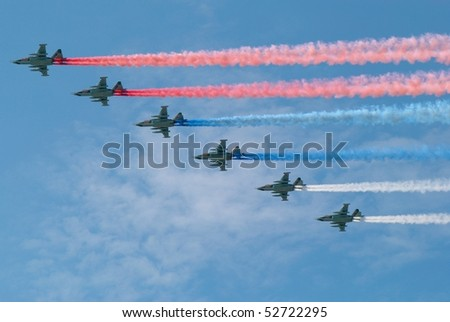 MOSCOW, RUSSIA - MAY 9: Traces of the 6 planes on the sky in the form of the russian tricolor flag. Victory Day celebrating on May 9, 2010 in Moscow, Russia - stock photo