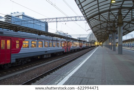 MOSCOW, RUSSIA - MAY, 21 2015:Train on Kiyevskaya railway station  (Kiyevsky railway terminal,  Kievskiy vokzal) -- is one of the nine main railway stations of Moscow, Russia