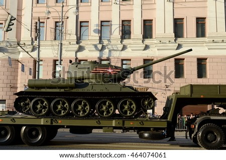 MOSCOW, RUSSIA - MAY 05, 2016:Transportation medium tank T-34-85 during a rehearsal of the parade dedicated to the 71st anniversary of the Victory in the great Patriotic war.