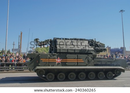 Moscow Russia may 9, 2014. Victory parade, military equipment. - stock photo