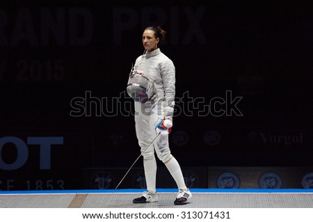 MOSCOW, RUSSIA - MAY 31 2015: Yana Egorian just before final fight on the World  fencing Grand Prix Moscow Saber in Luzhniki sport palace - stock photo