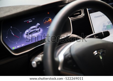 MOSCOW, RUSSIA - NOV 23, 2016: Interior of cabin of the Tesla Model S car.