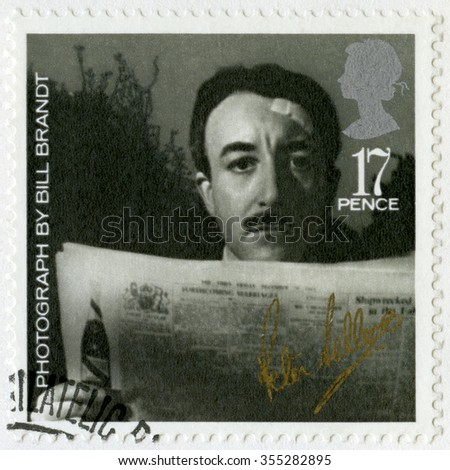 MOSCOW, RUSSIA - NOVEMBER 05, 2015: A stamp printed by Great Britain shows Richard Henry Peter Sellers (1925-1980), by Bill Brandt, series 20th Centenary Stars and Directors of Film, 1985 - stock photo