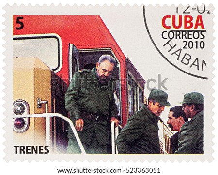 "MOSCOW, RUSSIA - NOVEMBER 26, 2016: A stamp printed in Cuba shows Fidel Castro on the train, series ""The 35th Anniversary of the First Fast Train"", circa 2010"