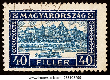 "Moscow, Russia - November 26, 2017: A stamp printed in Hungary shows Buda Castle Royal Palace, residence of the Hungarian kings in Budapest, Hungary, series ""Palace of Buda"", circa 1926"