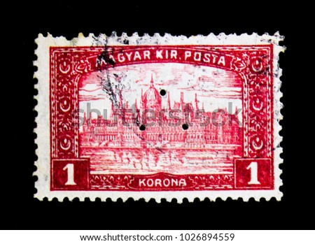 MOSCOW, RUSSIA - NOVEMBER 25, 2017: A stamp printed in Hungary shows Parliament Building, triangular punching, serie, circa 1921