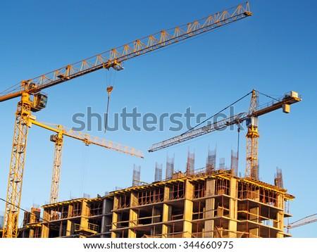 "Moscow, Russia - November 28, 2015: Construction site ""Tatianin Park"" - stock photo"