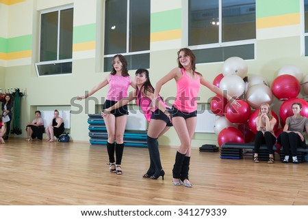 MOSCOW, RUSSIA - November 18, 2012 - Dance class for women at fitness centre local gym - stock photo