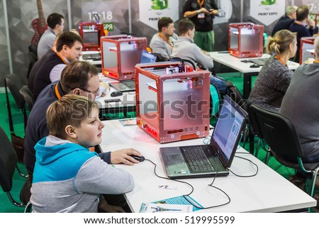 "Moscow, Russia, November 17, 2016: 4th Annual International Conference and Exhibition of 3D printing and scanning ""3D Expo 2016"" in Moscow. Visitors view the exhibits of the exhibition"