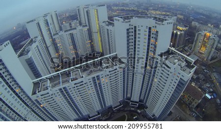 MOSCOW, RUSSIA - NOVEMBER 22, 2013: The building of a residential complex Sky Fort at the evening, aerial view. The complex consists of three residential buildings