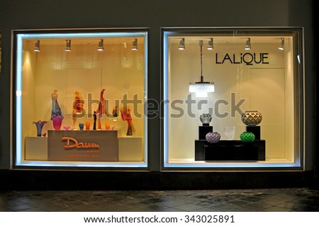 MOSCOW, RUSSIA - NOVEMBER 23: View of the showcase of Lalique flagship store in Moscow city centre on November 23, 2015. Lalique is the world famous luxury brand founded in France.