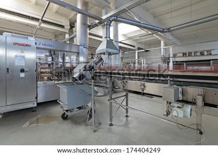 MOSCOW, RUSSIA, OCHAKOVO BREWERY - JUN 13, 2013: The biggest Russian company beer and beverage industry. Conveyor line, machine for pasting labels for beer bottles