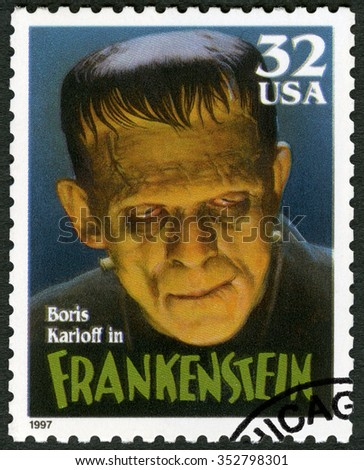 MOSCOW, RUSSIA - OCTOBER 25, 2015: A stamp printed by USA shows portrait of William Henry Pratt Boris Karloff (1887-1969) as Frankenstein Monster, series Classic Movie Monsters, 1997 - stock photo