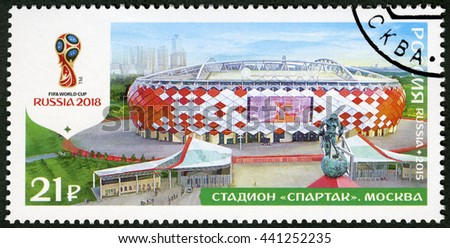 MOSCOW, RUSSIA - OCTOBER 17, 2015: A stamp printed in Russia shows Spartak Stadium, Moscow, series Stadiums, 2018 Football World Cup Russia - stock photo