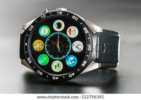 MOSCOW, RUSSIA - October 11, 2016: applications and features installed in smart watches KINGWEAR KW88 on android