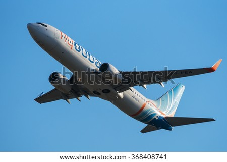 Moscow, Russia - October 10, 2014: Boeing 737 A6-FEA FlyDubai take off at Vnukovo International airport.