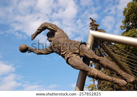 MOSCOW, RUSSIA - OCTOBER 27, 2009: Leo Yashin (legendary Russian soccer goalkeeper) memorial that used to be located next to FC Dynamo stadium. - stock photo