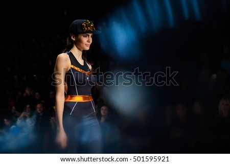 MOSCOW, RUSSIA - OCTOBER 17, 2016: Model walk runway for BELLA POTEMKINA catwalk at Spring-summer 2017 Mercedes-Benz Fashion Week Russia.