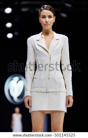 MOSCOW, RUSSIA - OCTOBER 18, 2016: Model walk runway for Valentin Yudaskin catwalk at Spring-summer 2017 Moscow Fashion Week.