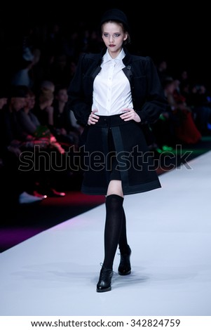 MOSCOW, RUSSIA - OCTOBER 21: Moscow Fashion Week, Designers present their collections for spring - summer 2016 on October 21, 2015 in Moscow, Russia.