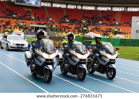 MOSCOW, RUSSIA - OCTOBER 19, 2013: Motorcycle highway patrol provides traffic safety. In the Russian Federation is part of the police.