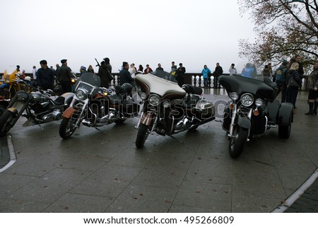 MOSCOW, RUSSIA - OCTOBER 08, 2016: motorcycles on the highest point of the city - Vorobievy Hills, foggy day. Closing moto season 2016