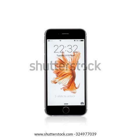 MOSCOW, RUSSIA - OCTOBER 06, 2015: New iPhone 6 s is a smartphone developed by Apple Inc. Apple releases the new iPhone 6 s and iPhone 6 s Plus