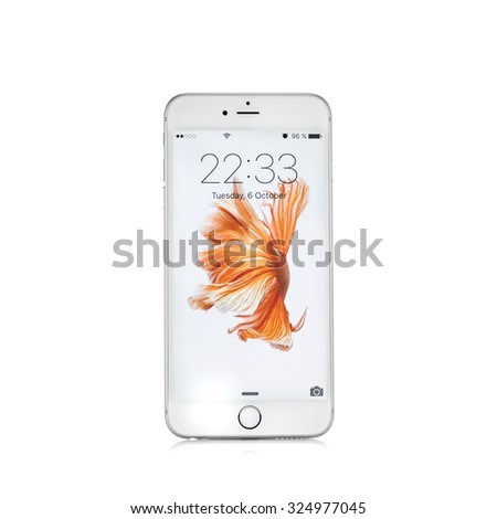 MOSCOW, RUSSIA - OCTOBER 06, 2015: New white iPhone 6 s is a smartphone developed by Apple Inc. Apple releases the new iPhone 6 s and iPhone 6 s Plus - stock photo