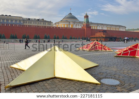 MOSCOW, RUSSIA - OCTOBER 30.2014:Preparation of Red Square to march on November 7 parade dedicated November 7, 1941  to mark 73nd anniversary of historic World War II parade - stock photo