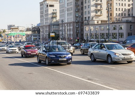 MOSCOW, RUSSIA, on August 10, 2017. Cars go on the city street
