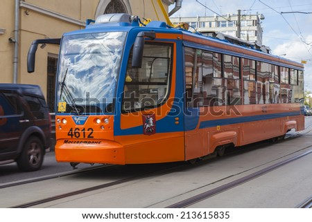 Moscow, Russia, on July 26, 2014. The tram goes on the city street