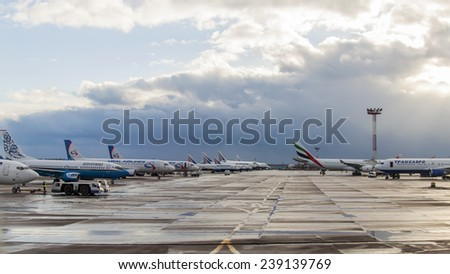 Moscow, Russia, on March 23, 2011. Planes of various airlines on the  parking at the airport of Domodedovo