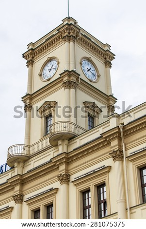 MOSCOW, RUSSIA, on MAY 24, 2015. Architectural fragment of the building of the Leningrad station