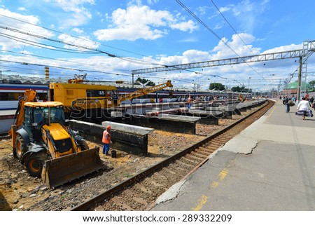 MOSCOW, RUSSIA - 17.06.2015. Reconstruction of the railway at the Leningrad station.