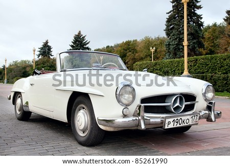 MOSCOW, RUSSIA-SEPT 24: A 1960 Mercedes-Benz 190SL Roadster in the final stage of the competition for classic cars at the Closing  of the season Rally Retro Car on September 24, 2011 in Moscow, Russia - stock photo