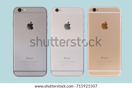 MOSCOW, RUSSIA - SEPT 15, 2017: Set of all colors iPhones 6 are a smartphones developed by Apple Inc. Apple releases the new iPhone 6 and iPhone 6 Plus