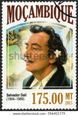 MOSCOW, RUSSIA - SEPTEMBER 12, 2015: A stamp printed by Mozambique shows Salvador Dali (1904-1989), painter, 2013 - stock photo